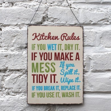 Kitchen Rules Hanging Metal Sign