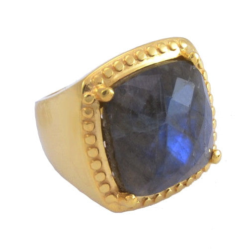 Labradorite Gold Plated Ring