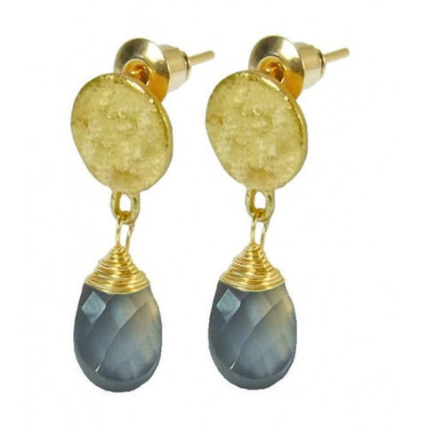 Gold Plated Labradorite Drop Earrings