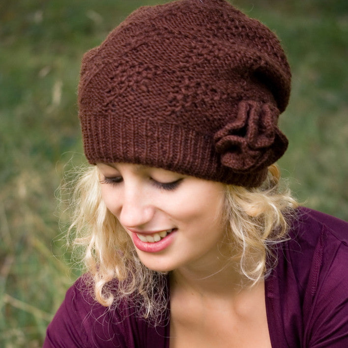 Brown Pure Wool Lacy Knit Hat