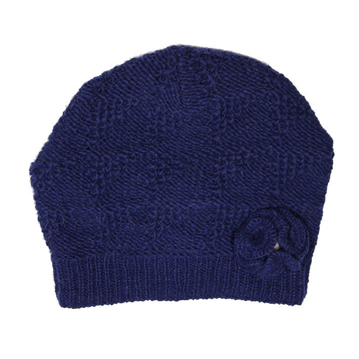 Dark Blue Pure Wool Lacy Knit Hat