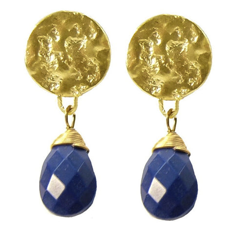 Azuni Gold Plated Lapis Lazuli Drop Earrings