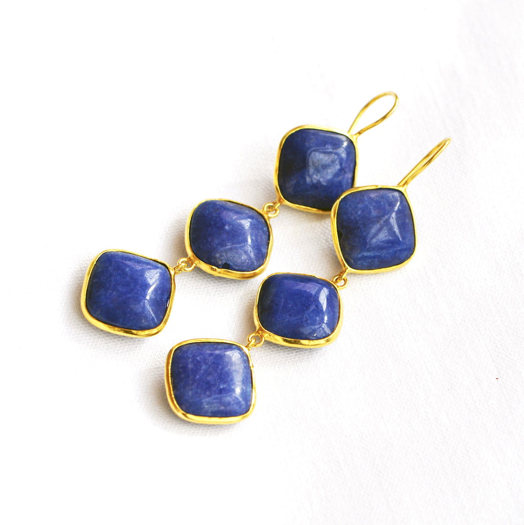 Gold Plated 3 Stone Lapis Lazuli Earrings