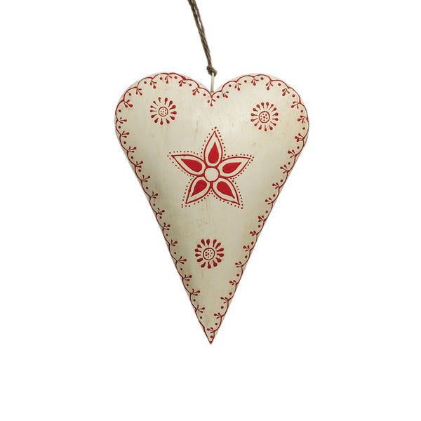 Large Cream Rustic Flower Metal Heart