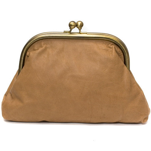 Large Tan Leather Clutch Bag