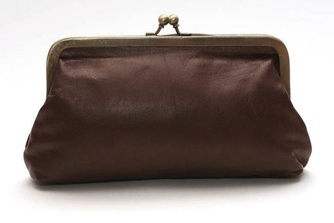 Chestnut Brown Leather Clutch Bag