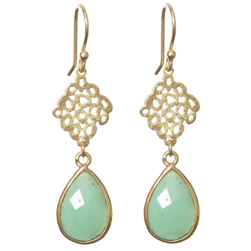 Semi-Precious Mint Stone Earrings