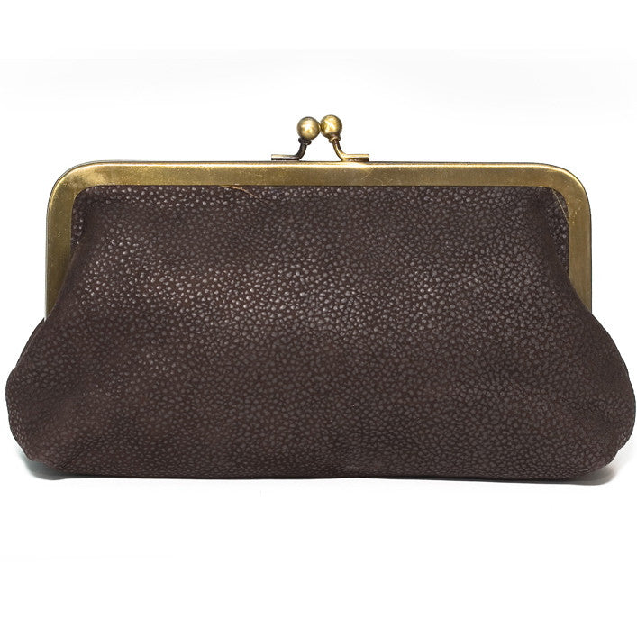 Chocolate Brown Leather Clutch Bag