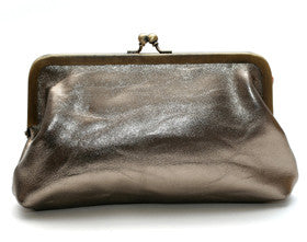 Pewter Leather Clutch Bag