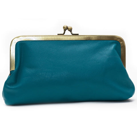 Teal Leather Clutch Bag