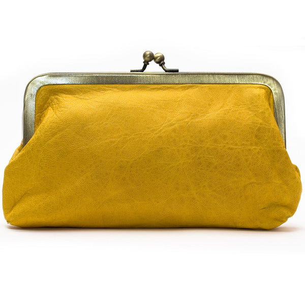 Yellow Leather Clutch Bag