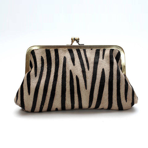 Zebra Print Leather Clutch Bag