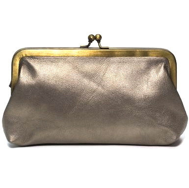 Pale Gold Leather Clutch Bag