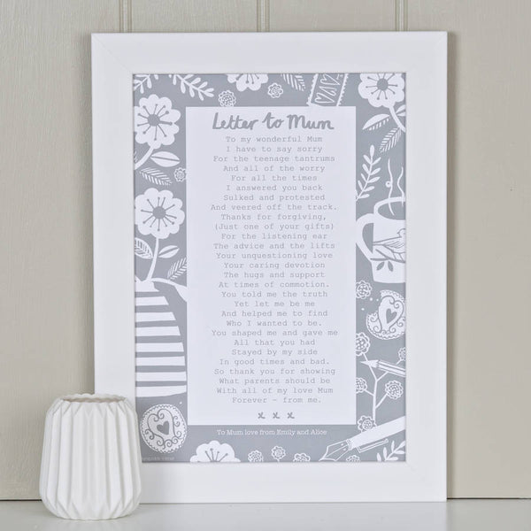 'A Letter To Mum' Poem Print