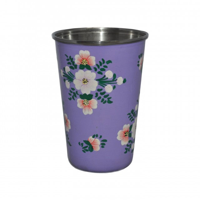 Lilac Hand Painted Enamel Tumbler