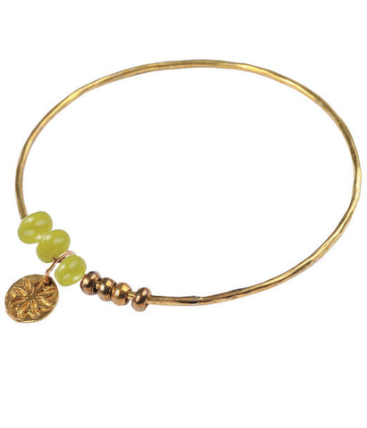 Brass Bangle with Recycled Lime Green Glass