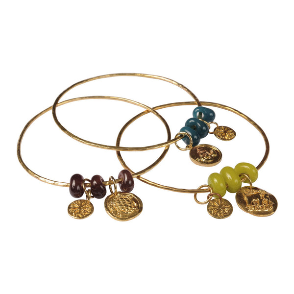 Brass Bangles with Recycled Glass Beads