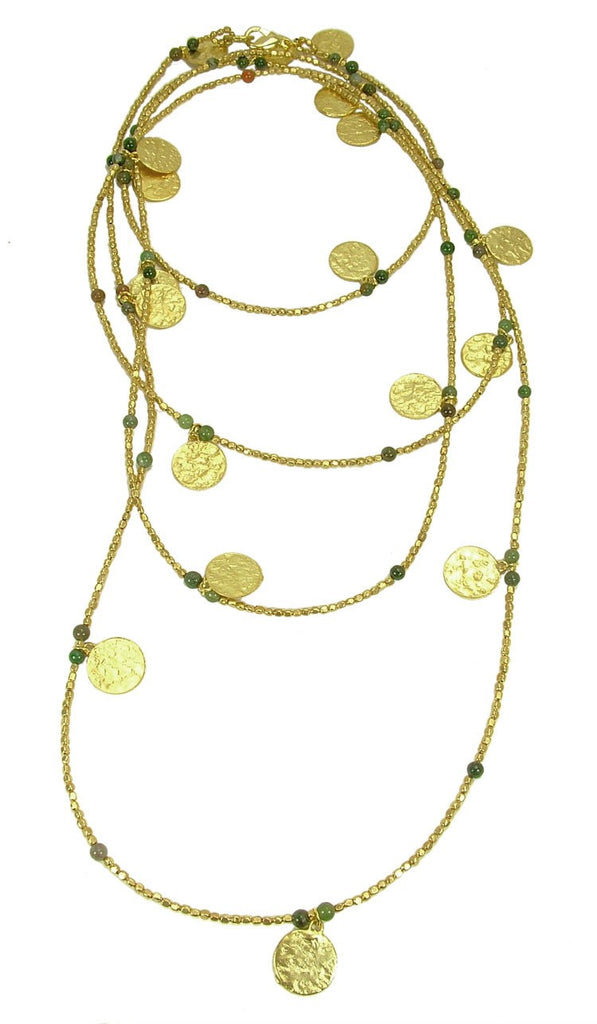 Jasper Gold Plated Coin Wrap Necklace