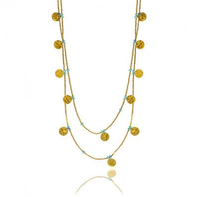 Azuni London Apatite Semi-Precious Coin Wrap Necklace