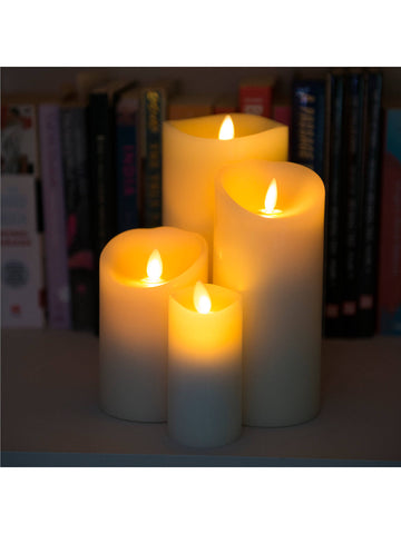 Set of 4 Luminara Ivory Wax Pillar Candles with Remote Control