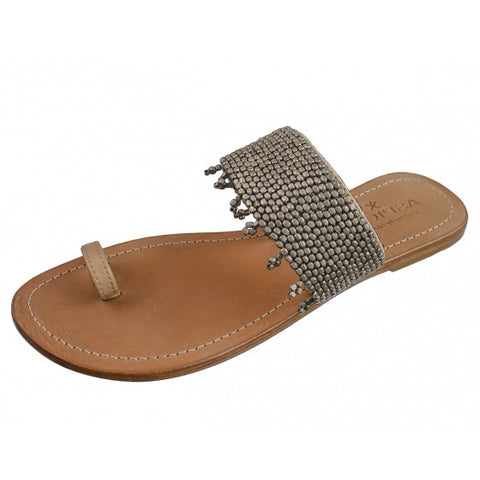 Silver Luna Natural Leather Toe Loop Sandals