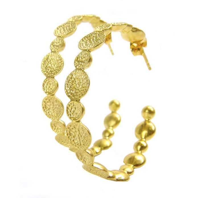 Large Gold Plated Crater Hoop Earrings