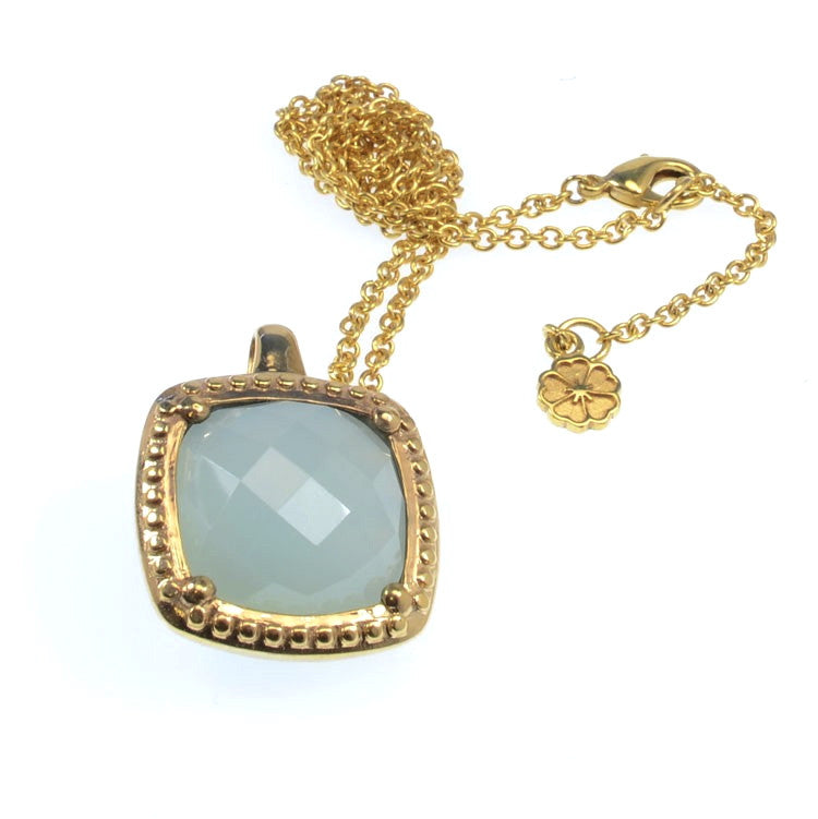 Aqua Chalcedony Pendant Necklace