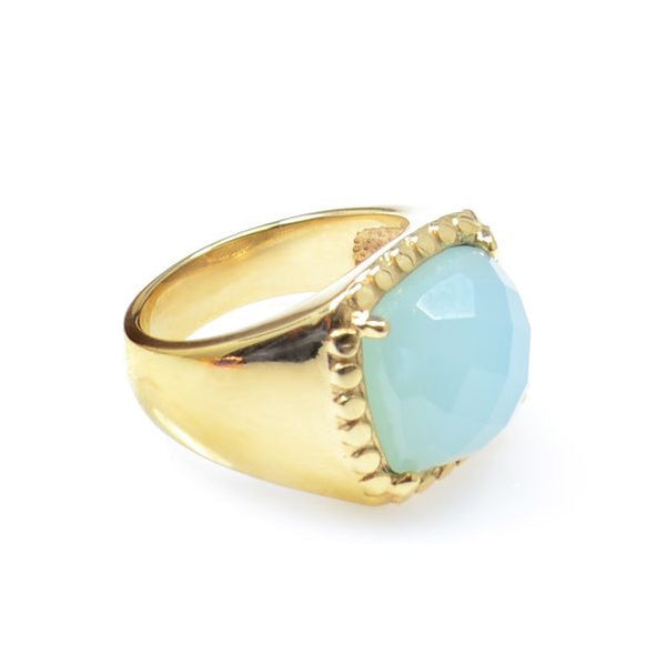 Aqua Chalcedony Gold Plated Ring