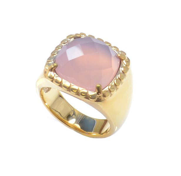 Pink Chalcedony Gold Plated Ring