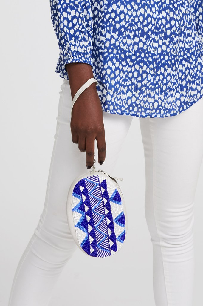 Blue & White Mariana 3 in 1 Leather Beaded Bag