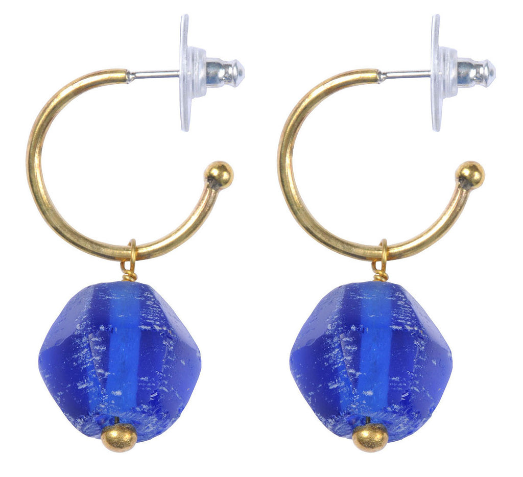 Marine Blue Recycled Glass Earrings