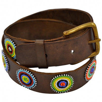 Elite Disc Masai Beaded Leather Belt