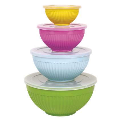 Set of 4 Melamine Bowls with Lids