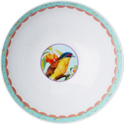 Green Japanese Bird Print Melamine Bowl