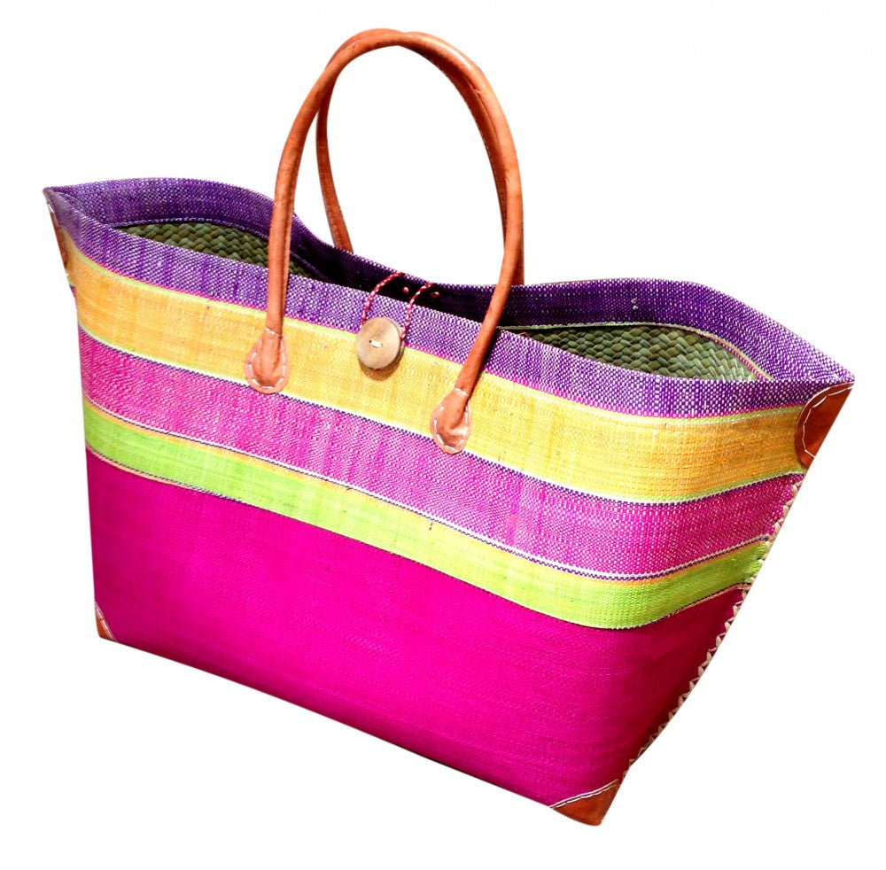 Hot Pink Striped Raffia Beach Basket