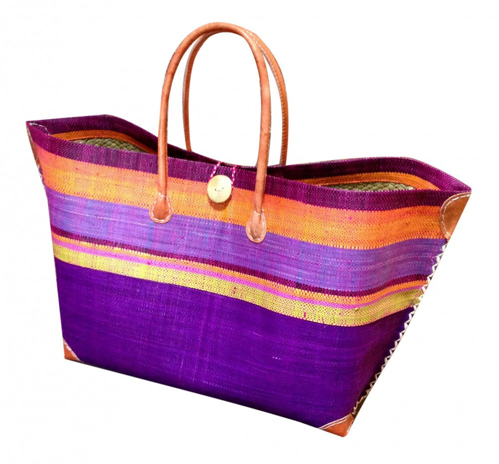 Purple Striped Raffia Beach Basket