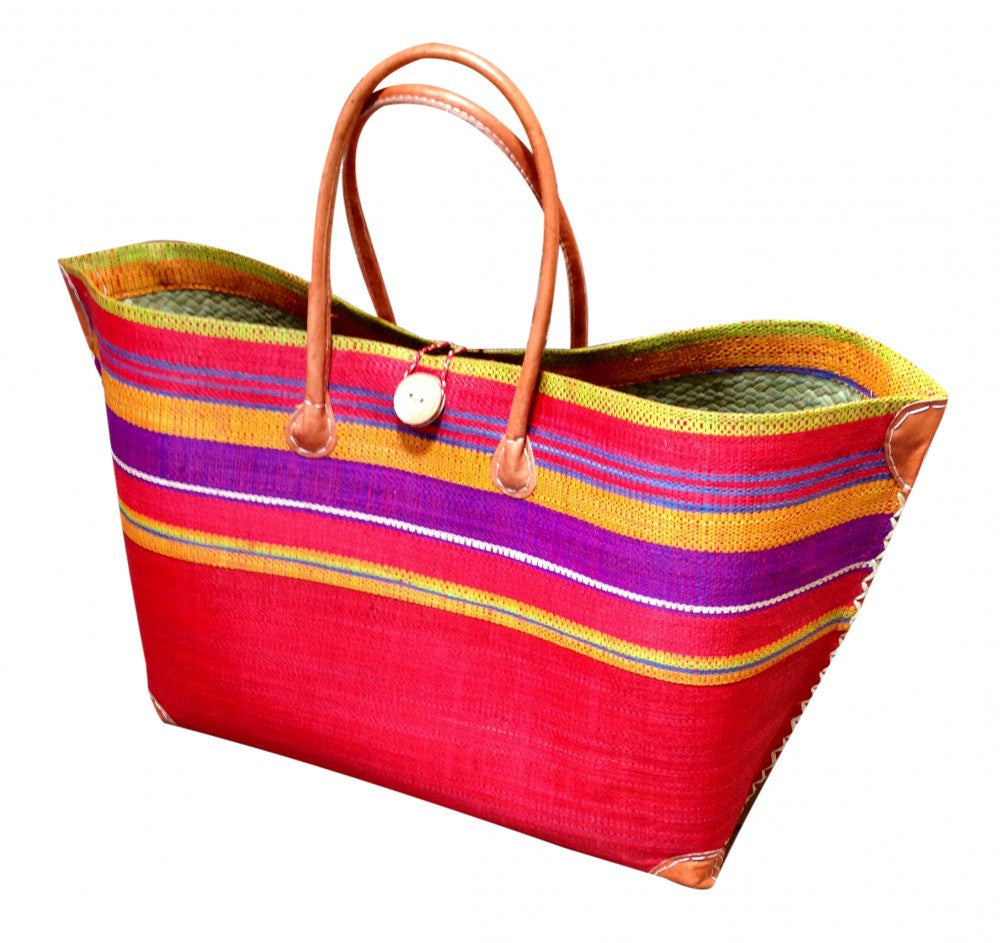 Red Striped Raffia Beach Basket