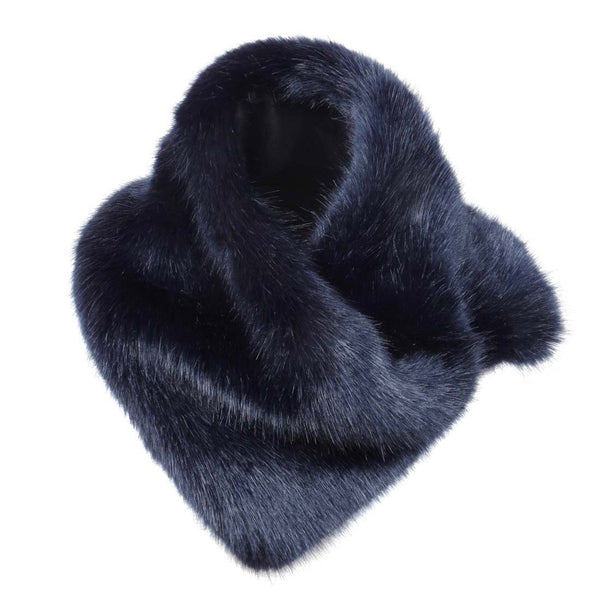 Asymmetric Midnight Faux Fur Scarf