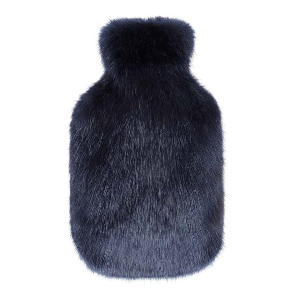 Midnight Faux Fur Hot Water Bottle