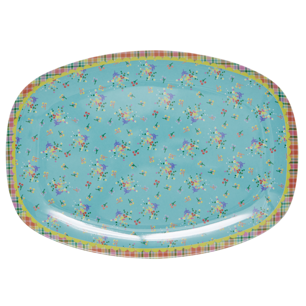 Aqua Mini Flower Print Melamine Rectangular Plate