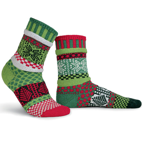 Mismatched Knitted Socks Mistletoe