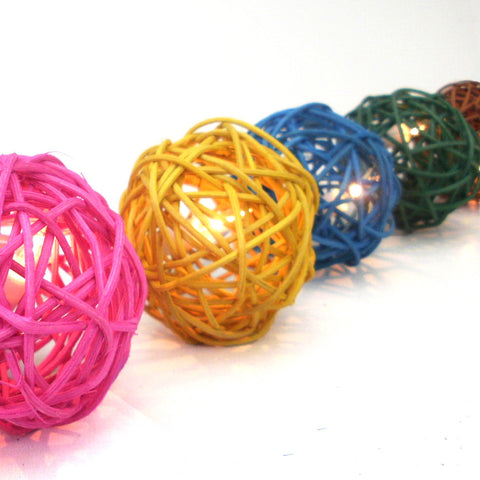 Mixed Rattan Ball String Lighting