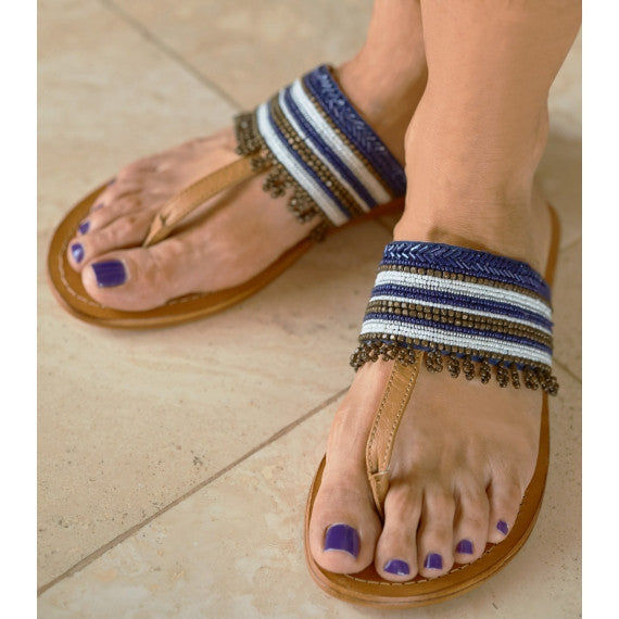 Monika Blue Beaded Sandals