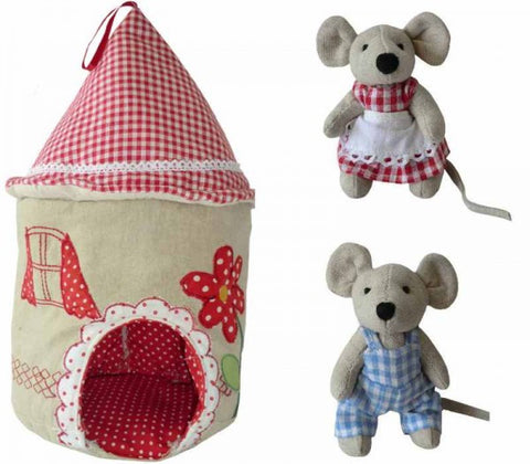 Patchwork & Embroidered Mouse House with Two Mice