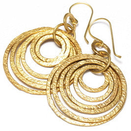 Textured Gold Plated Multi Hoop Earrings