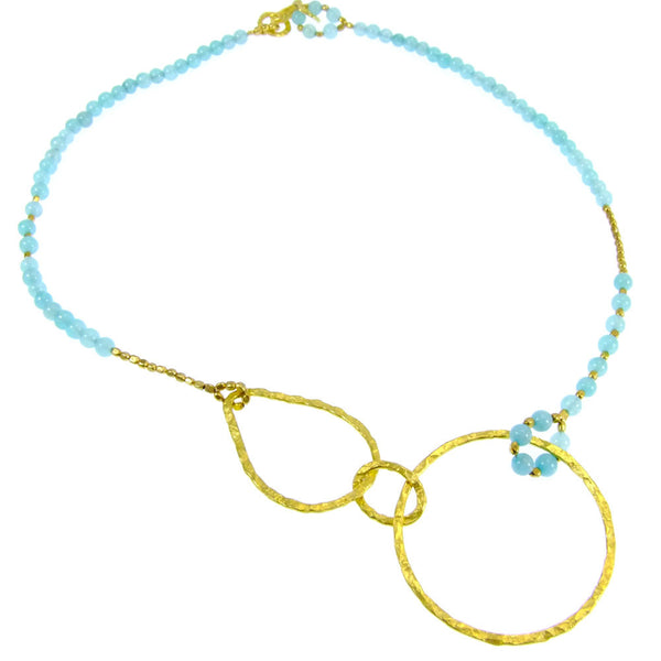 Amazonite Gold Plated Hoop Necklace