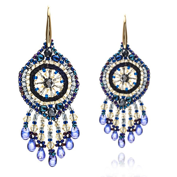 Azuni Navy Beaded Dreamcatcher Earrings