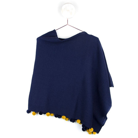 Blue Navy Poncho With Mustard & Navy Pom Poms
