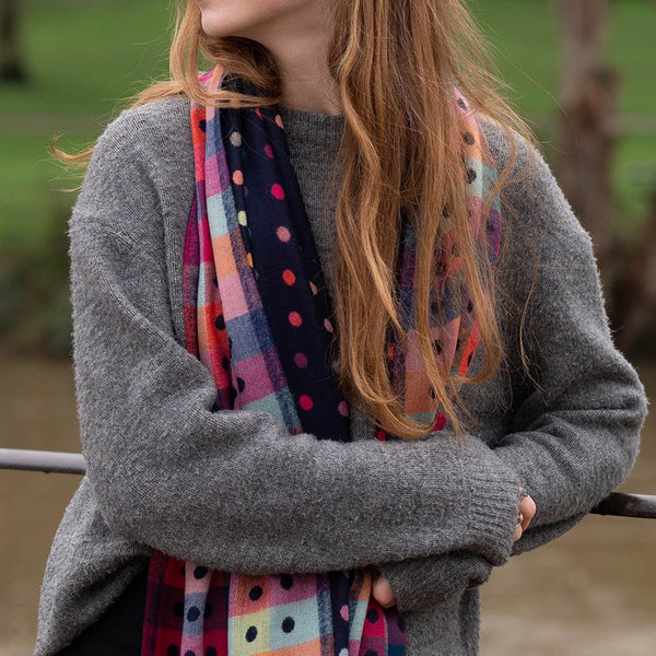 Blue Navy Reversible Multicoloured Spot & Check Scarf