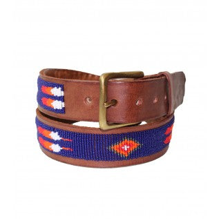 Blue/Orange Feather Beaded Leather Belt